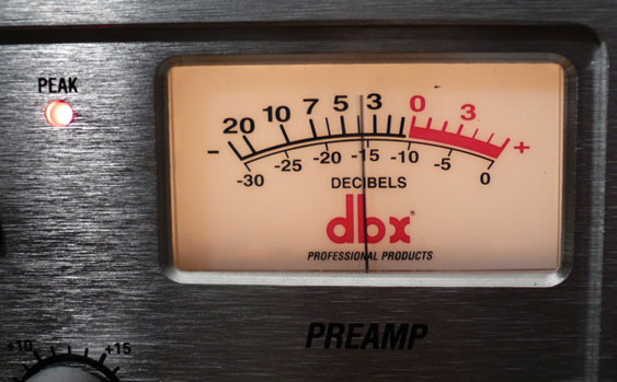 A dbx VU meter. Note that the needle on the meter registers a decent signal level here, but the peak LED indicates an over.