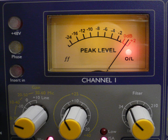 VU meter with overload indicator (Focusrite ISA 428)