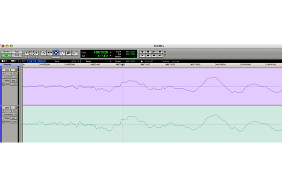 When the upper waveform is moved left by 97 samples, the two are time-aligned. The result can be heard in TCRM9_16.wav