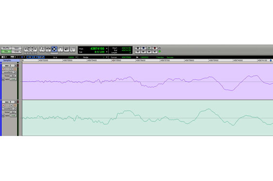 Two mics may pick up sounds that are misaligned in time or phase. This picture shows a waveform that is both. Here, the upper waveform is still late by 97 samples as well as flipped in phase, or inverted, (the positive and negative sides have been reversed).