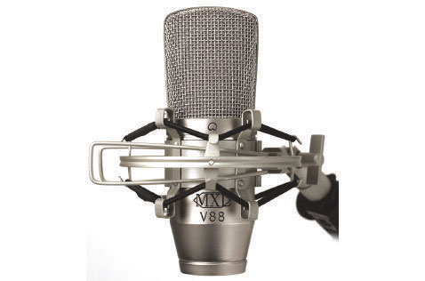 The MXL V88 mic in its shockmount