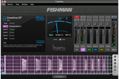 The TriplePlay application, showing sound selection, mixer, and tuner.