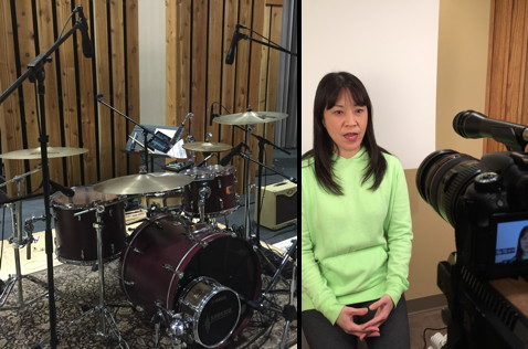 Our review sessions included everything from using six KSM8 mics on a drum kit (left) to video-documentary work (right).