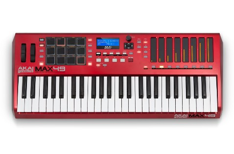 The Akai MAX49 sports clean lines and a striking red finish.