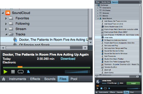 4+5. Integration of SoundCloud (left) and PreSonus Exchange (right) into the Browser.