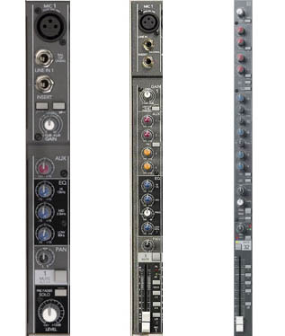 A small, medium, and larger channel strip