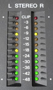 Similar metering on the Yamaha 01V mixing console: Master levels.