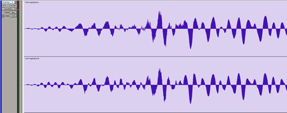 The same recording with more rounded peaks shows no signs of this distortion.